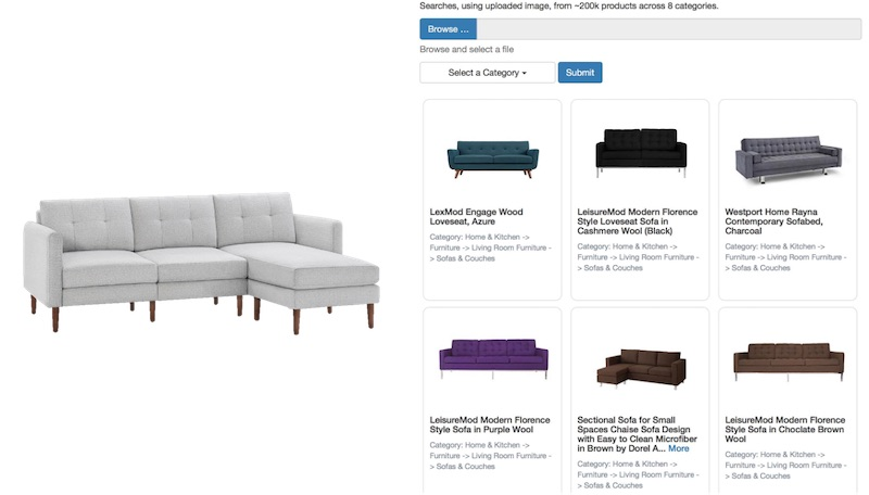 Image Search on a dimpled sofa