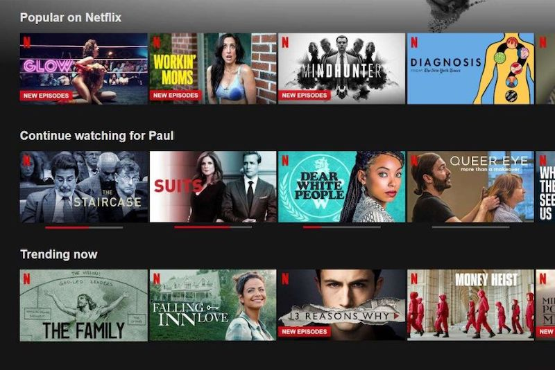Recommendation slates on Netflix's home screen