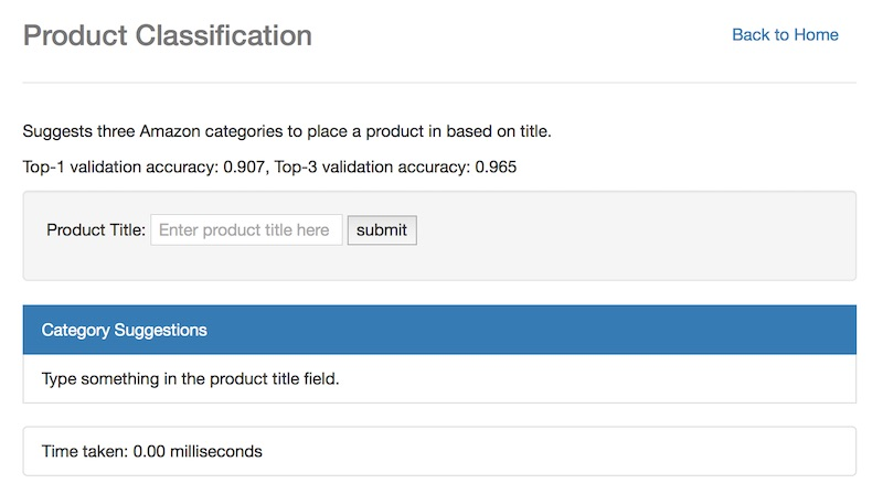 Product classification input empty